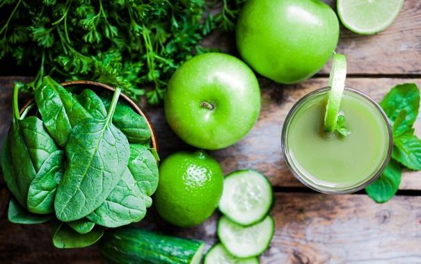 Фото обои зелень, яблоко, сок, лайм, огурцы