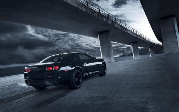 Фото обои Небо, Черный, Мост, Chevrolet, Muscle, Камаро, Camaro