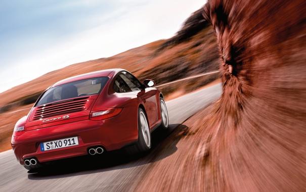 Фото обои дорога, машина, авто, обои, гора, скорость, поворот