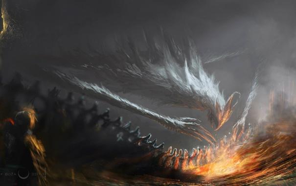 Фото обои огонь, человек, существо, арт, гигантское