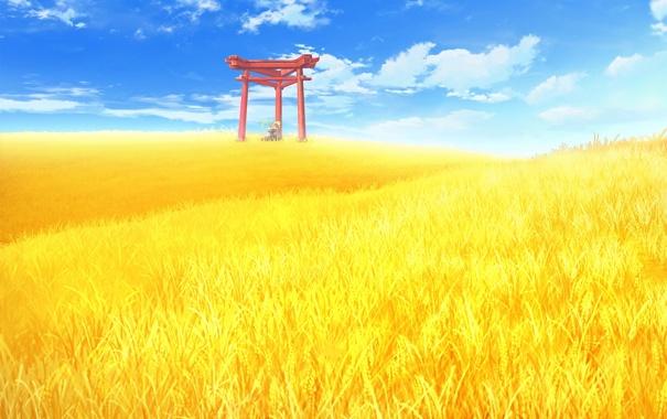 Обои картинки фото love kami, game, пейзаж, врата, поле, пшеница