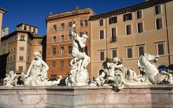 Фото обои дома, Рим, Италия, фонтан, Пьяцца Навона