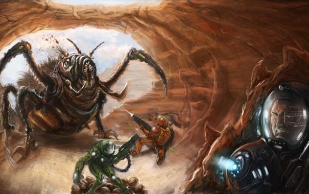 Фото обои жук, скафандр, солдаты, ружья, пехотинец, пещера. яйца, перепуганный