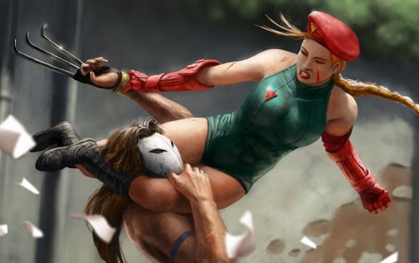 Фото обои девушка, бой, арт, драка, Cammy, Street Fighter, Street Fighter 4