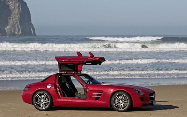 Фото обои волны, красный, океан, Mercedes-Benz, SLS AMG