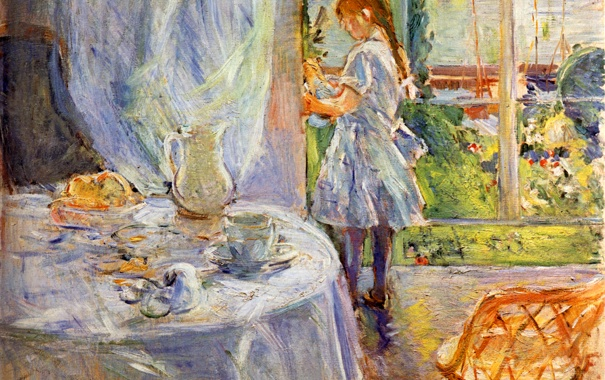 Фото обои Berthe Morisot, Interior of Cottage, The Child with the Headstock, ребенок, окно, стол, интерьер