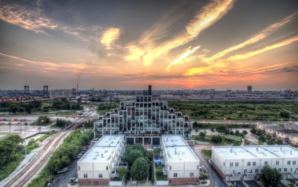 Фото обои закат, Чикаго, Иллинойс, Chicago, Illinois, sunset, usa