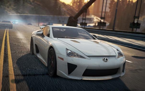 Фото обои дорога, мост, город, гонка, need for speed most wanted 2012, Lexus LFA