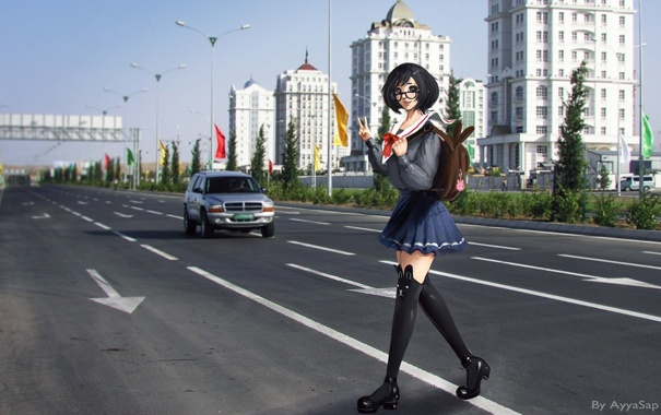 Фото обои дорога, девушка, город, очки, школьница