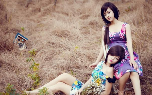 Фото обои Девушки, Часы, Азиатки, Lilly Luta