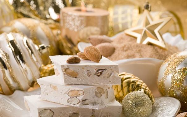 Фото обои зима, игрушки, Новый Год, тарелка, Рождество, сладости, орехи