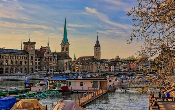 Фото обои деревья, мост, башня, дома, лодки, Швейцария, Цюрих