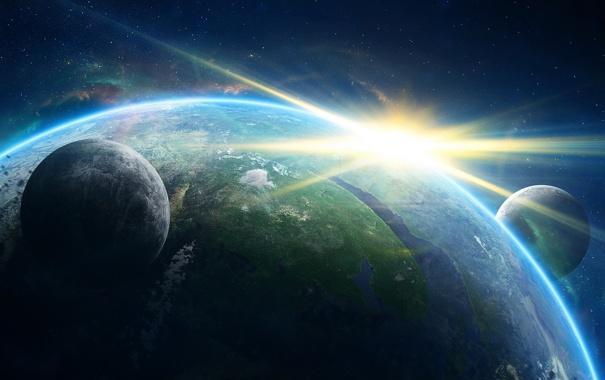 Фото обои солнце, космос, земля, планеты, планета, галактика