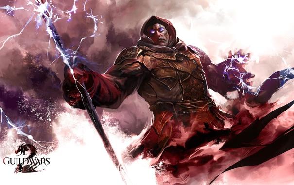 Фото обои молнии, доспехи, капюшон, маг, посох, броня, Guild Wars 2