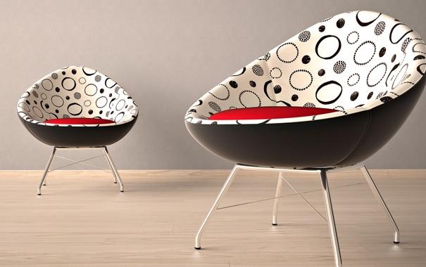 Фото обои дизайн, кресло, форма, квартира, два, красный, интерьер