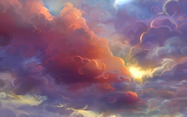 Фото обои небо, облака, закат, луна, завитки, арт