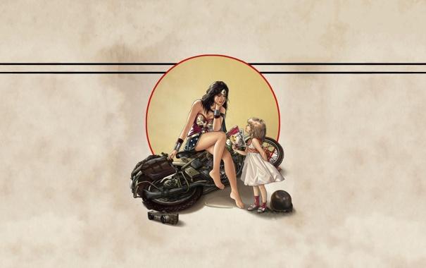 Фото обои девушка, фон, мотоцикл, Wonder Woman, комиксы