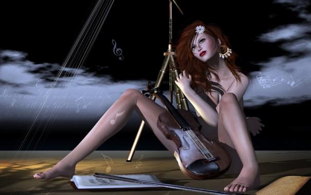 Фото обои девушка, музыка, рендеринг, скрипка