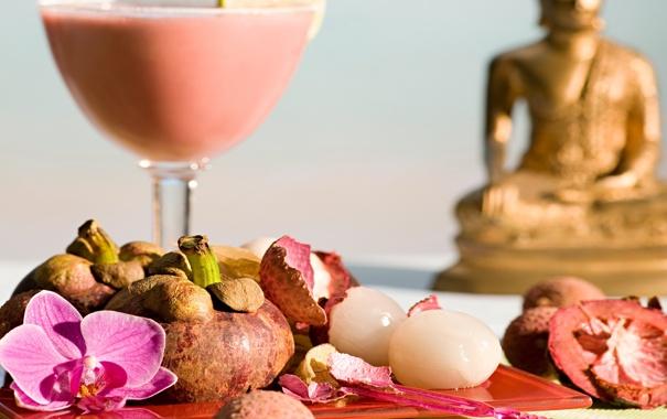 Фото обои цветы, коктейль, summer, beach, будда, drink, cocktail