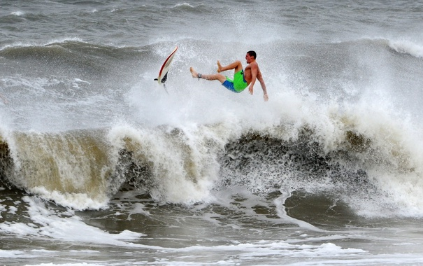 Фото обои волны, шторм, спортсмен