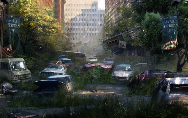 Фото обои деревья, машины, город, стена, улица, апокалипсис, здания