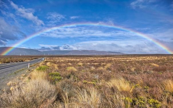 Фото обои дорога, трава, пейзаж, природа, холмы, радуга, новая