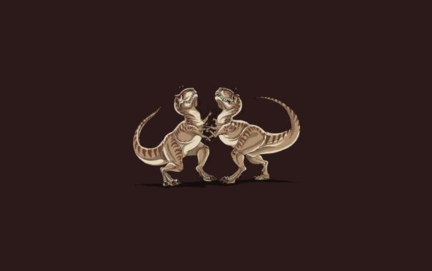 Фото обои юмор, драка, тиранозавр
