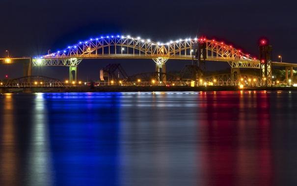 Фото обои ночь, огни, Мичиган, панорама, Marie International Bridge