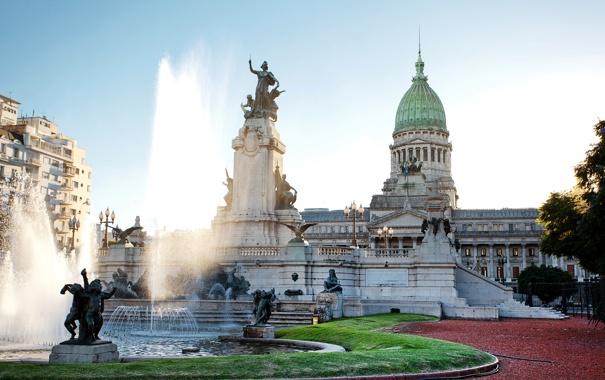 Фото обои газон, памятник, фонтан, дворец, скульптуры, Аргентина, Buenos Aires