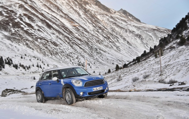Фото обои Зима, Горы, Синий, Снег, Mini Cooper, MINI, Мини Купер