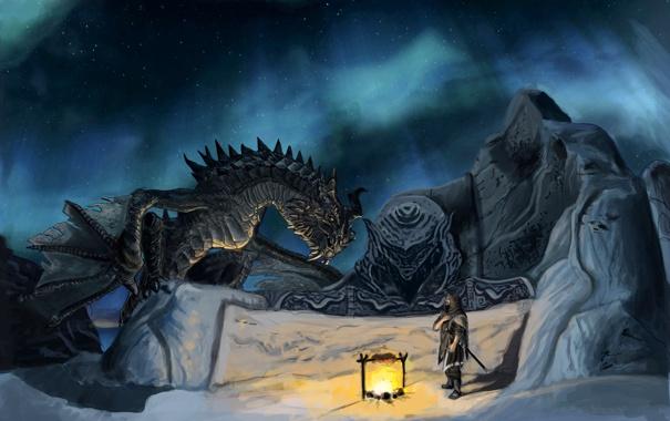 Фото обои ночь, стена, дракон, человек, костер, арт, Skyrim