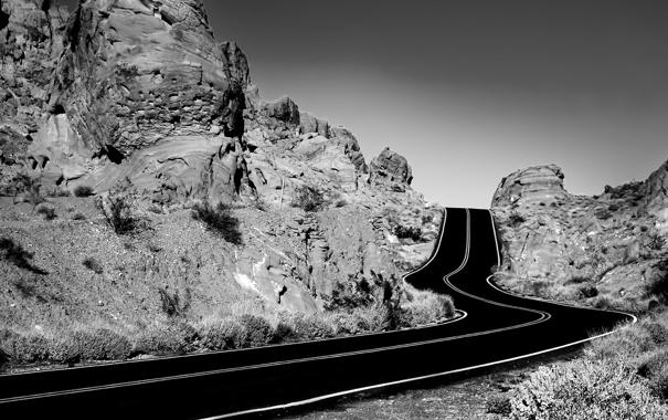 Фото обои дорога, горы, обои, трасса, ч/б