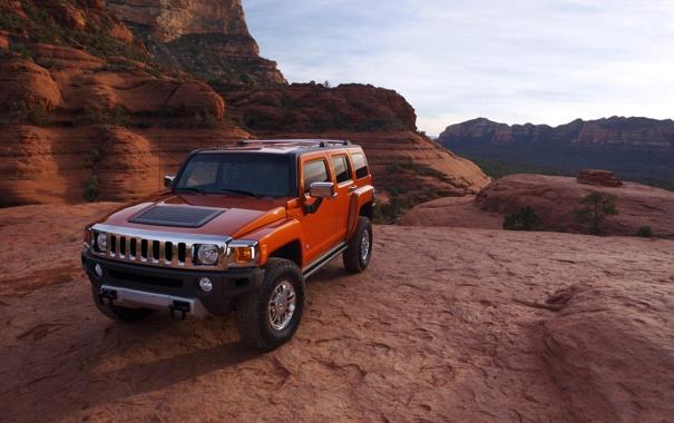 Фото обои машина, оранжевый, каньон, hummer, авто