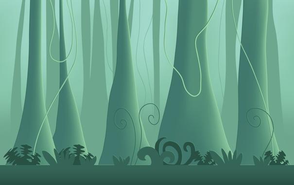 Фото обои джунгли, обои, леса, деревья, дерво, растения, минимализм