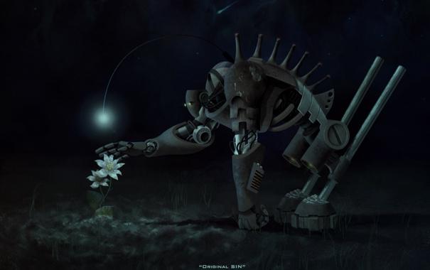 Фото обои цветок, робот, original sin, романыч