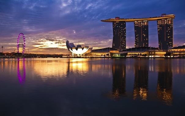 Фото обои восход, Сингапур, Sunrise, Singapore, River