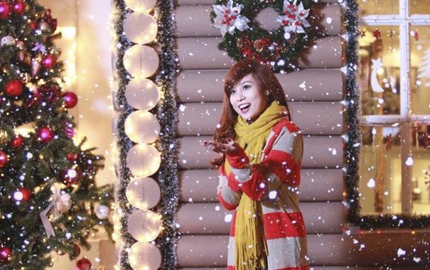 Фото обои девушка, дом, праздник