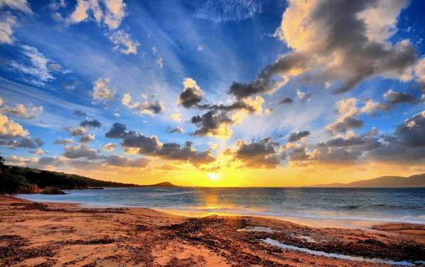 Фото обои пляж, небо, вода, солнце, обои, берег, пейзажи