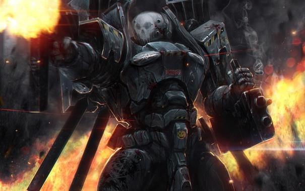 Фото обои skull, soldier, armor, heavy weapons, happy face