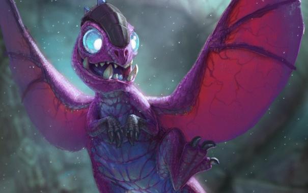 Фото обои дракон, карта, существо, арт, WoW, World of Warcraft, няшка