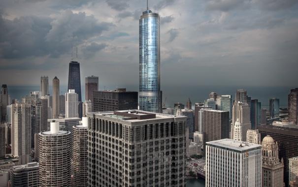 Фото обои небо, тучи, город, небоскребы, Чикаго, Иллиноис