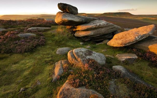 Фото обои поле, свет, природа, камни