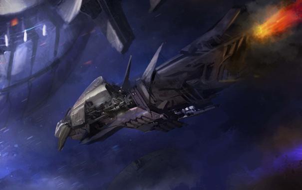 Фото обои космос, фантастика, корабль, арт