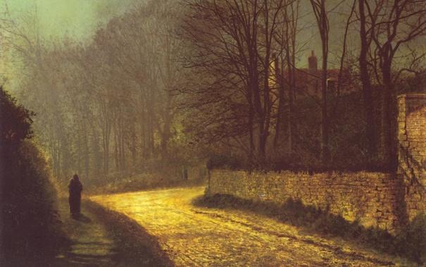 Фото обои дорога, деревья, улица, человек, картина, John Atkinson Grimshaw