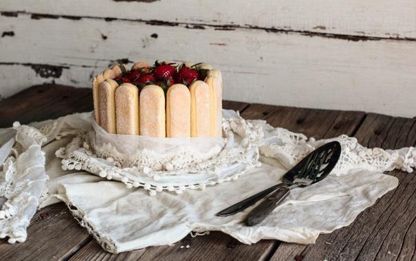 Фото обои ягоды, печенье, клубника, торт, десерт, выпечка, сладкое