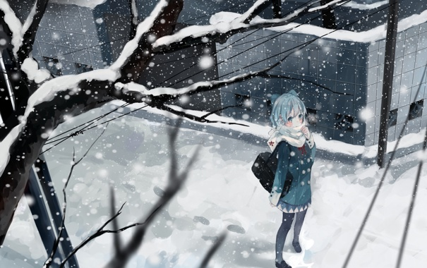 Фото обои зима, девушка, снег, деревья, ветви, аниме, арт