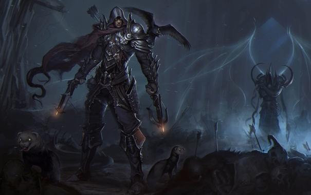 Фото обои птица, арт, парень, ворон, diablo, demon hunter, Reaper