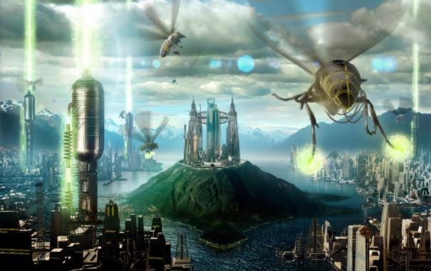 Фото обои облака, город, будущее, река, остров, здания, пчелы