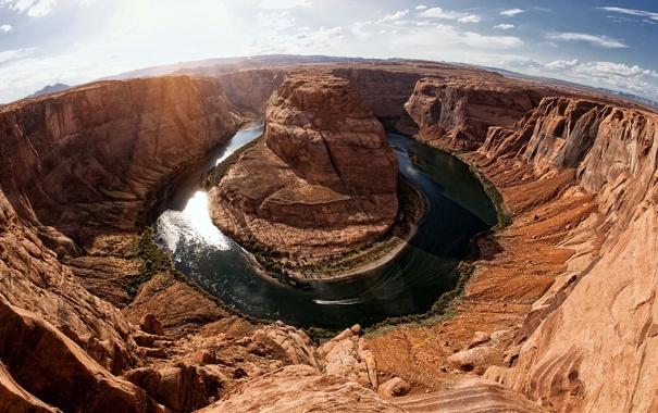 Фото обои Аризона, USA, Америка, Arizona, Grand Canyon, река Колорадо, Подкова