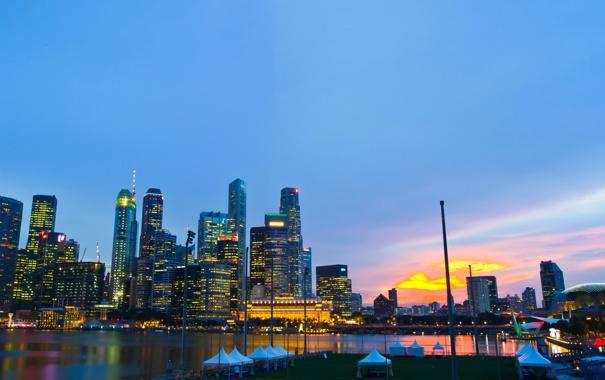 Фото обои рассвет, побережье, небоскребы, Сингапур, мегаполис